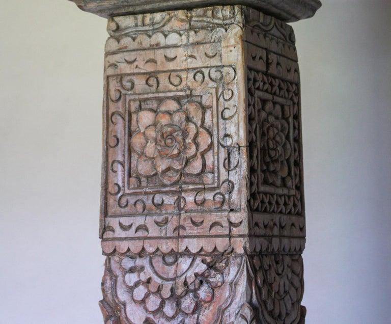 Pair of Carved Teak Wood Columns For Sale 1