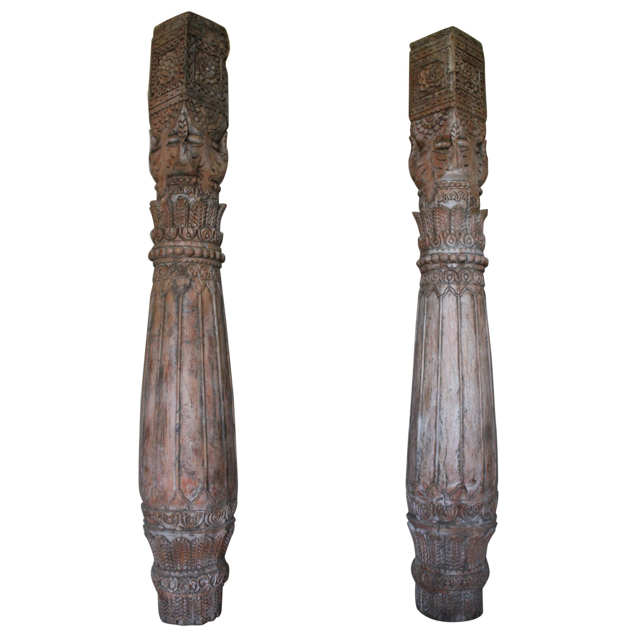 Pair of Carved Teak Wood Columns