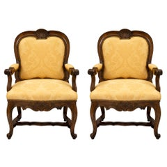 Pair of Carved Walnut 19th Century Italian Armchairs