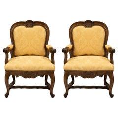 Pair of Carved Walnut 19th Century Italian Armchairs