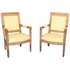 Pair of Carved Walnut French Empire Open Armchairs Fauteuils, circa 1870