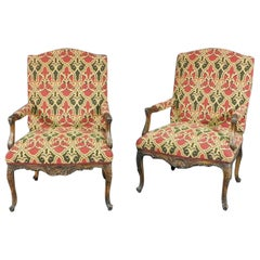 Pair of Carved Walnut French Louis XV Fauteuils Armchairs in Tapestry Upholstery