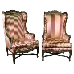 Pair of Carved Walnut French Louis XV Fireside Parlor Bergère Chairs circa 1940s