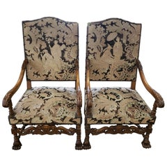 Pair of Carved Walnut Needlepoint Armchairs