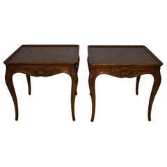 Pair of Carved Walnut Provincial Style Side Tables by Henredon