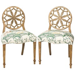 Pair of Carved Wheel Back Side Chairs
