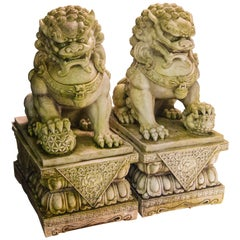 Pair of Carved White Marble Foo Dogs