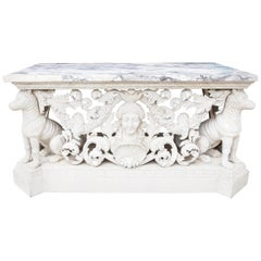Pair of Carved White Painted Console Tables
