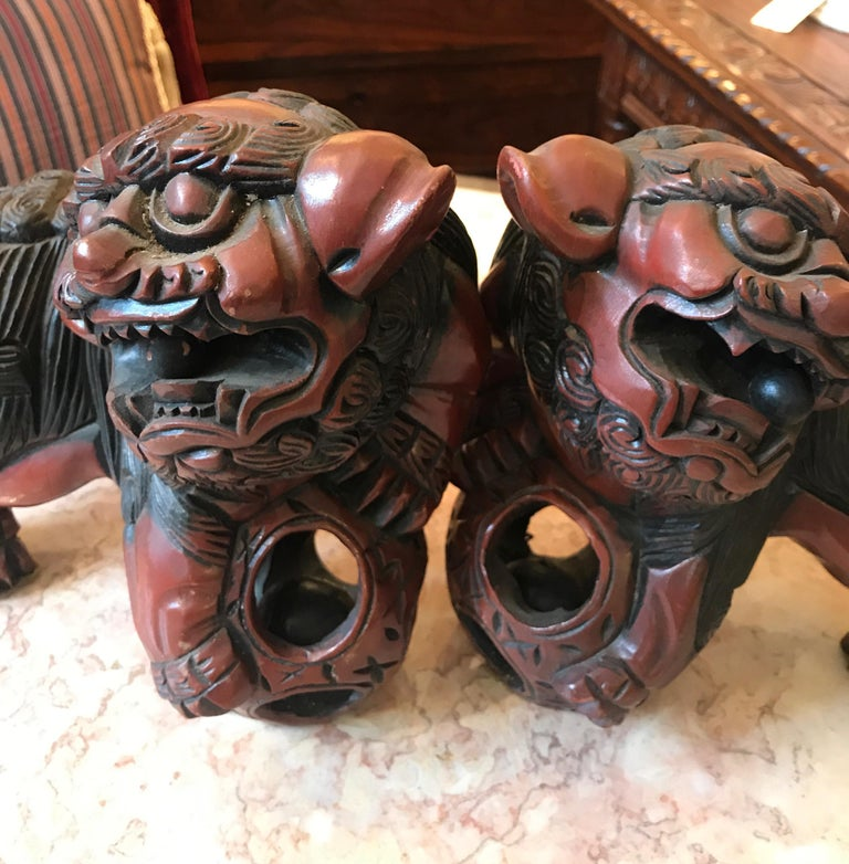 Pair of Carved Wood and Lacquered Foo Dogs For Sale 1