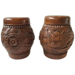 Pair of Carved Wood Asian Dragon Covered Jars