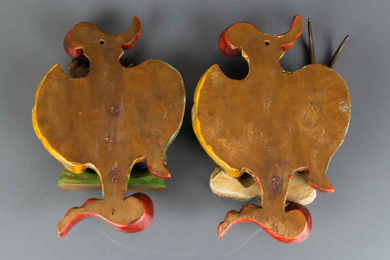Pair of Carved Wood Baroque Style Wall Decors with Deer and Ibex Figures For Sale 10