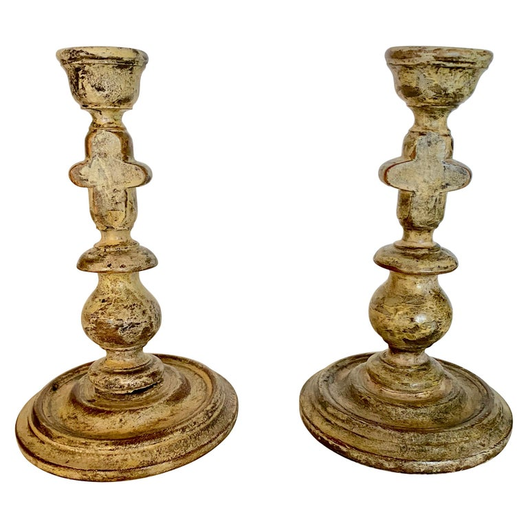Pair of Carved Wood Candle Sticks For Sale