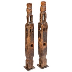 Pair of Carved Wood Chair Legs Elephant & Rider Tharu of Nepal, Mid-20th Century
