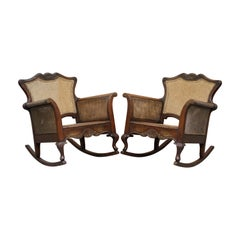 Pair of Carved Wood circa 1920s Italian Berger Rattan Rocking Armchair Chairs