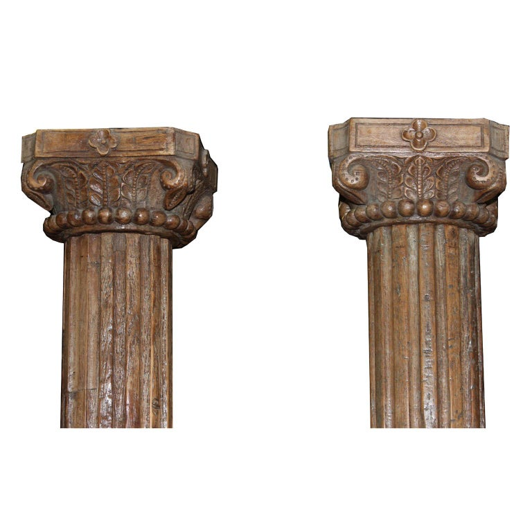 Indian Pair of Carved Wood Columns For Sale
