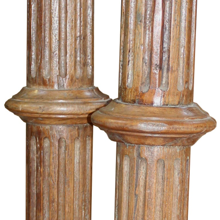 Early 20th Century Pair of Carved Wood Columns For Sale