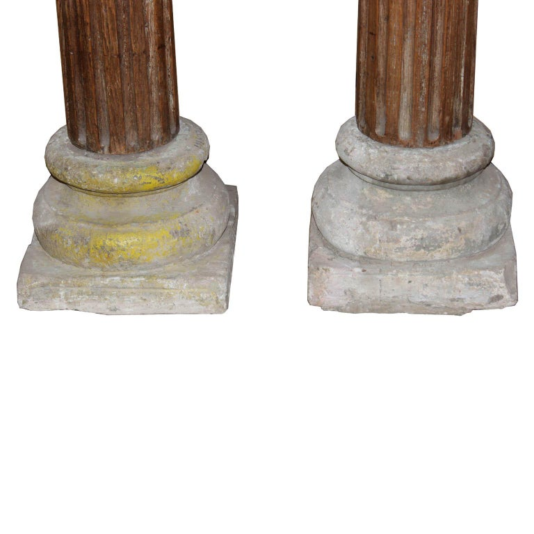 Pair of Carved Wood Columns For Sale 2