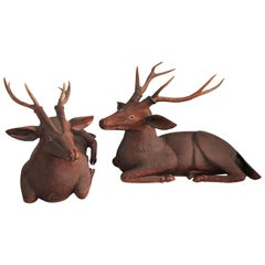 Pair of Carved Wood Folk Art Deer
