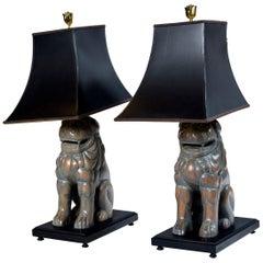 Pair of Carved Wood Foo Dog Lamps by Sarreid