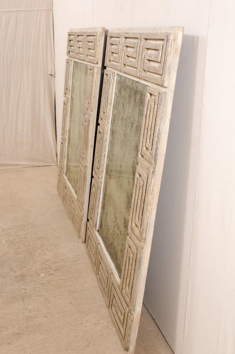 Pair of Carved Wood Greek Key Motif Antiqued Mirrors from the 20th Century For Sale 7