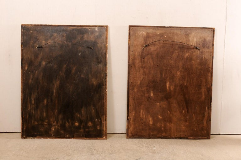 Pair of Carved Wood Greek Key Motif Antiqued Mirrors from the 20th Century For Sale 8