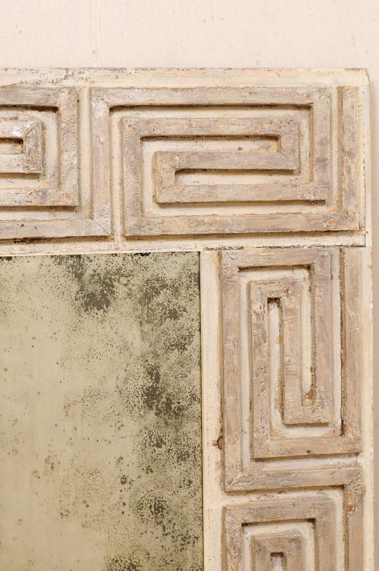 Pair of Carved Wood Greek Key Motif Antiqued Mirrors from the 20th Century For Sale 2