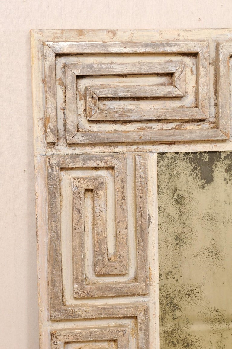 Pair of Carved Wood Greek Key Motif Antiqued Mirrors from the 20th Century For Sale 3