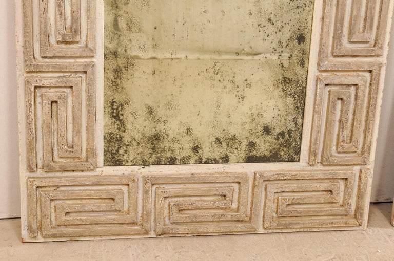 Pair of Carved Wood Greek Key Motif Antiqued Mirrors from the 20th Century For Sale 5
