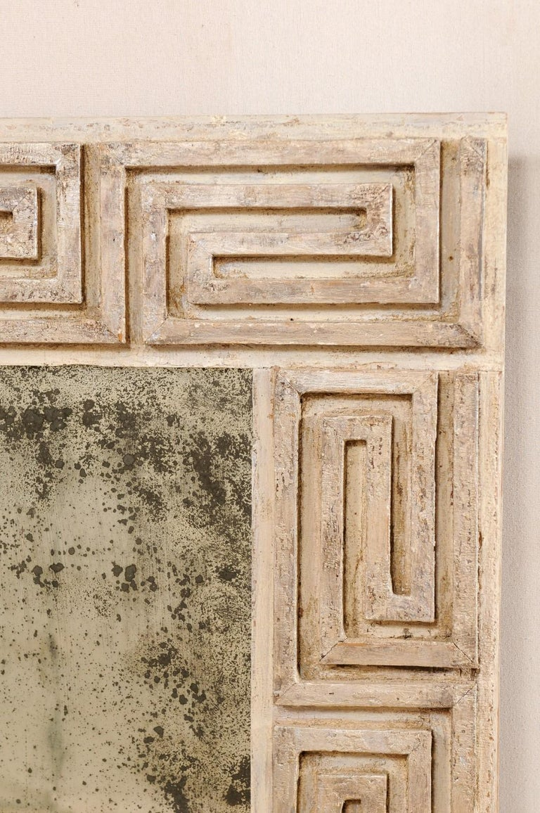 Pair of Carved Wood Greek Key Motif Antiqued Mirrors from the 20th Century For Sale 6