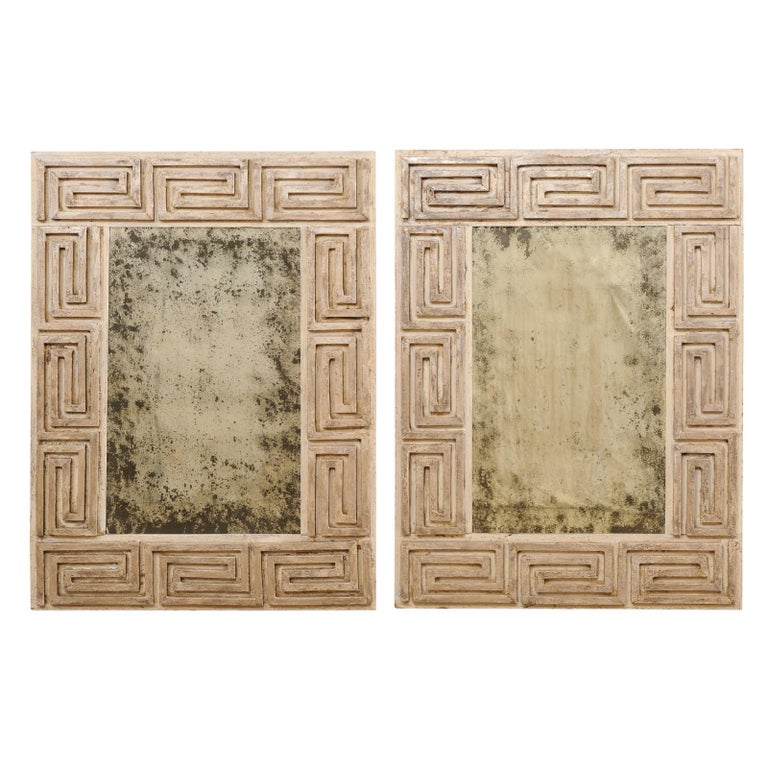 Pair of Carved Wood Greek Key Motif Antiqued Mirrors from the 20th Century For Sale