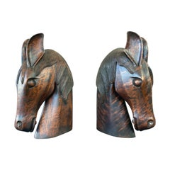 Pair of Carved Wood Horse Heads