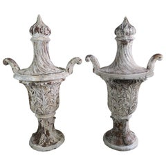 Pair of Carved Wood Italian Painted Urns with Flames