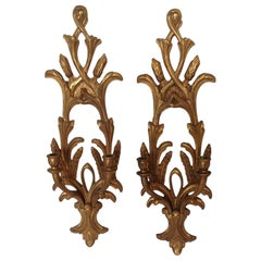 Pair of Carved Wood Italian Sconces