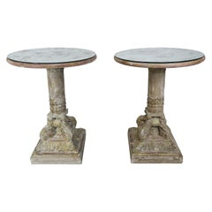 Pair of Carved Wood Italian Tables with Mirrored Tops