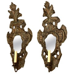 Venetian Wood Grotto Sconces with Mirror Back