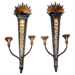 Pair of Carved Wood Neoclassic Sconces