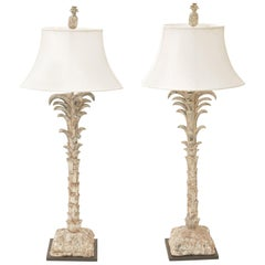 Pair of Carved Wood Palm Tree Form Table Lamps