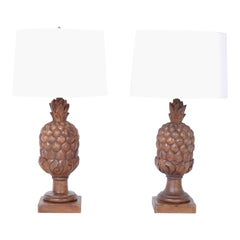 Pair of Carved Wood Pineapple Table Lamps