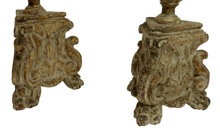 Pair of Carved Wood Pricket Candlestick Lamps, French 18th Century, circa 1780 In Good Condition For Sale In San Francisco, CA