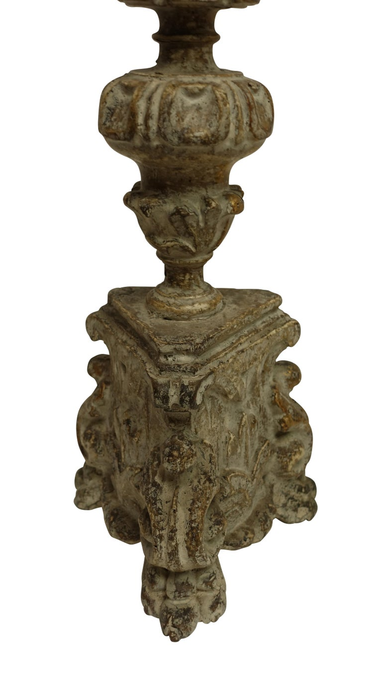 Pair of Carved Wood Pricket Candlestick Lamps, French 18th Century, circa 1780 For Sale 2