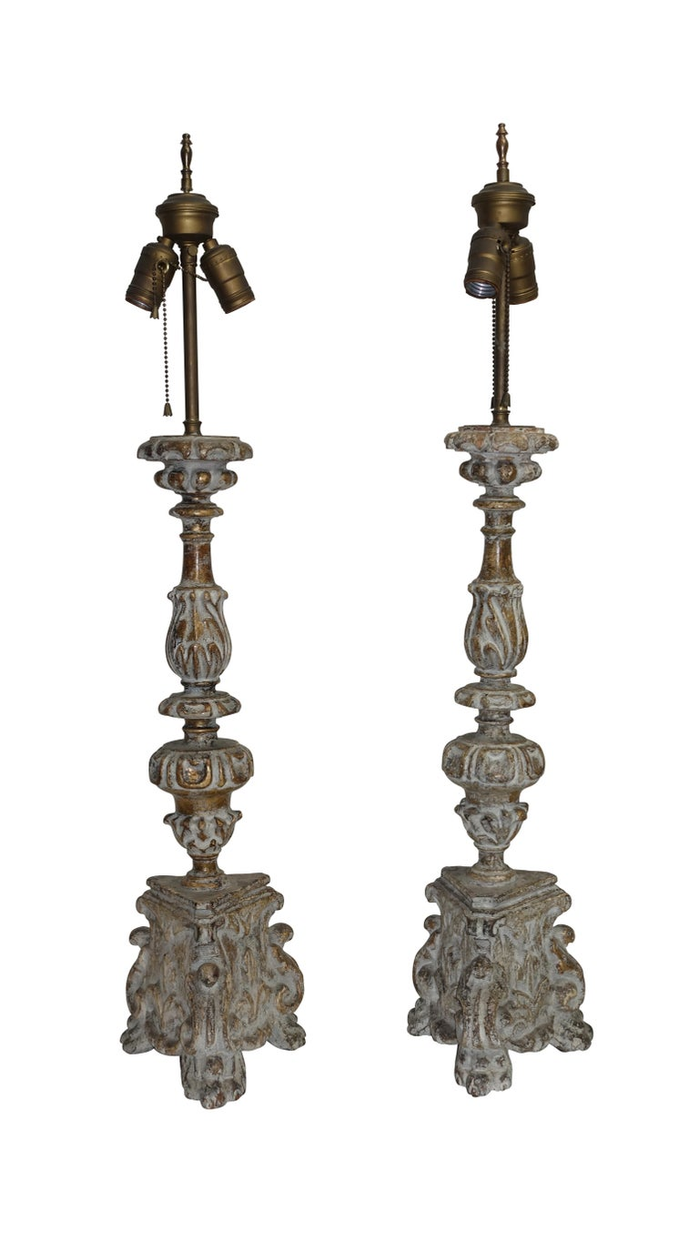 Pair of Carved Wood Pricket Candlestick Lamps, French 18th Century, circa 1780 For Sale 5