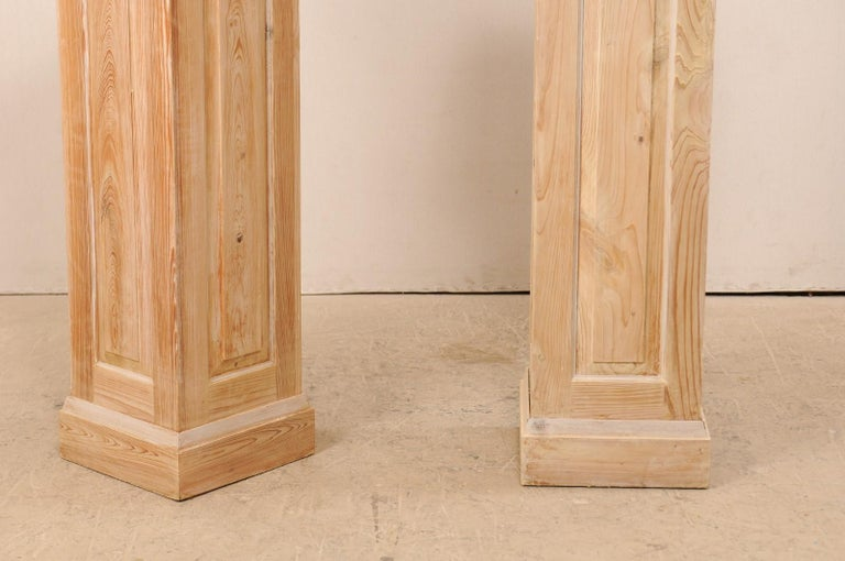 Pair of Carved Wood Squared Pedestal Columns For Sale 5