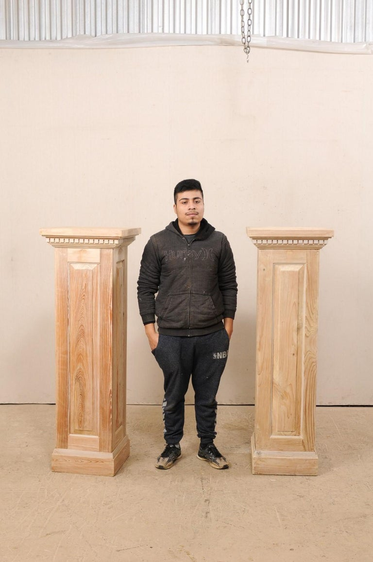 Pair of Carved Wood Squared Pedestal Columns For Sale 6