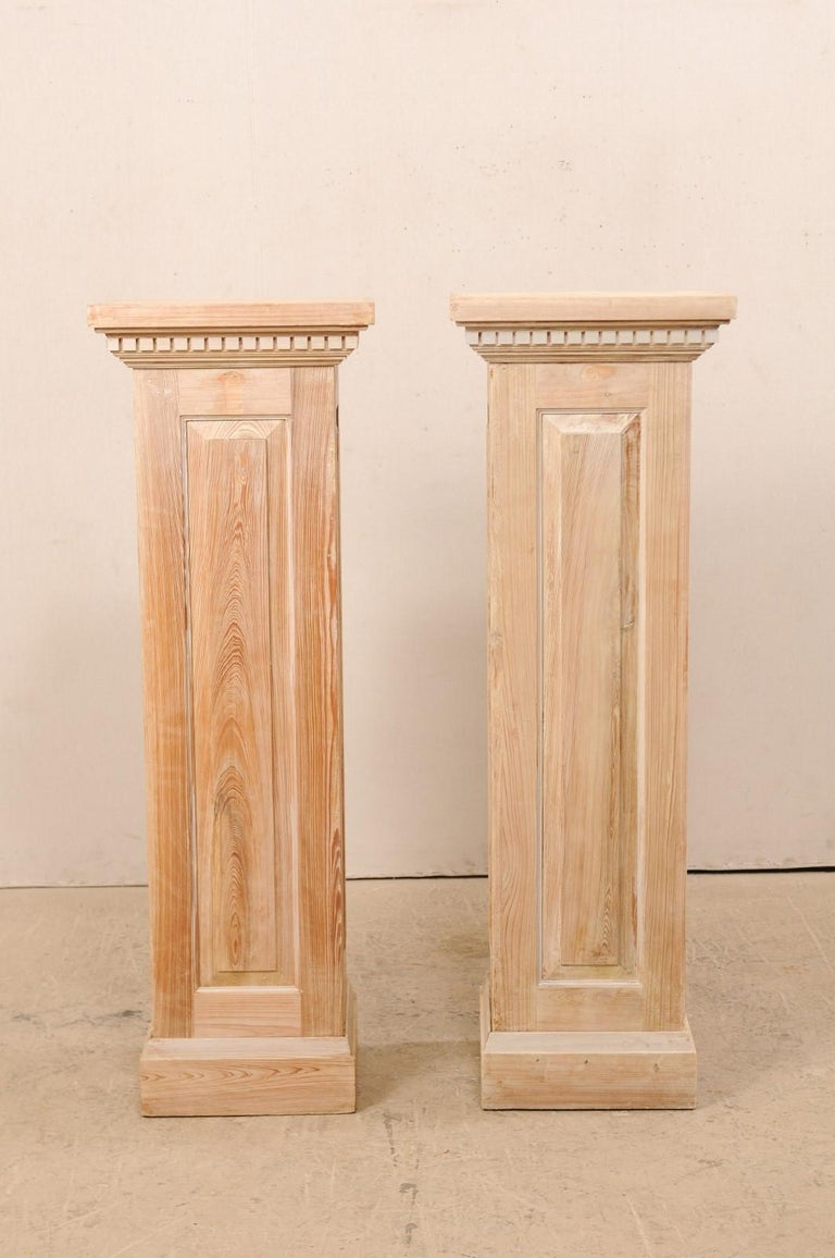 American Pair of Carved Wood Squared Pedestal Columns For Sale