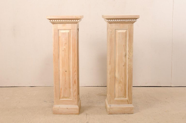 Pair of Carved Wood Squared Pedestal Columns In Good Condition For Sale In Atlanta, GA