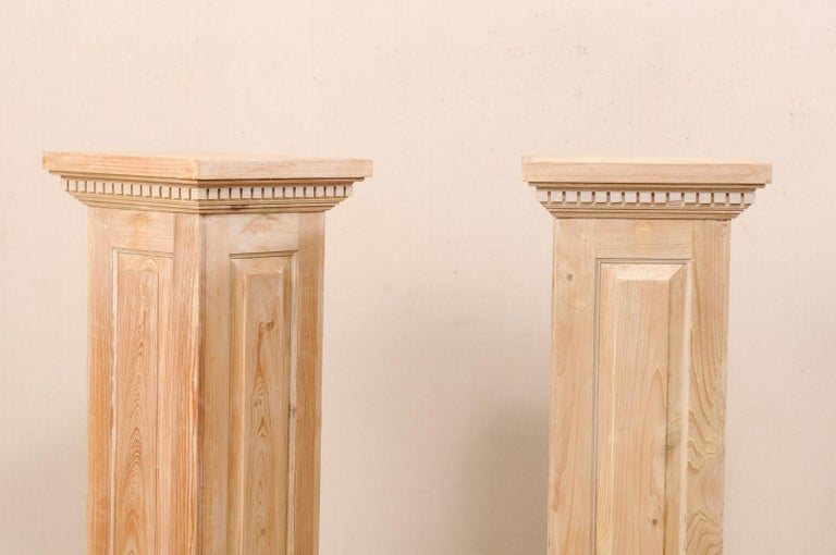 20th Century Pair of Carved Wood Squared Pedestal Columns For Sale