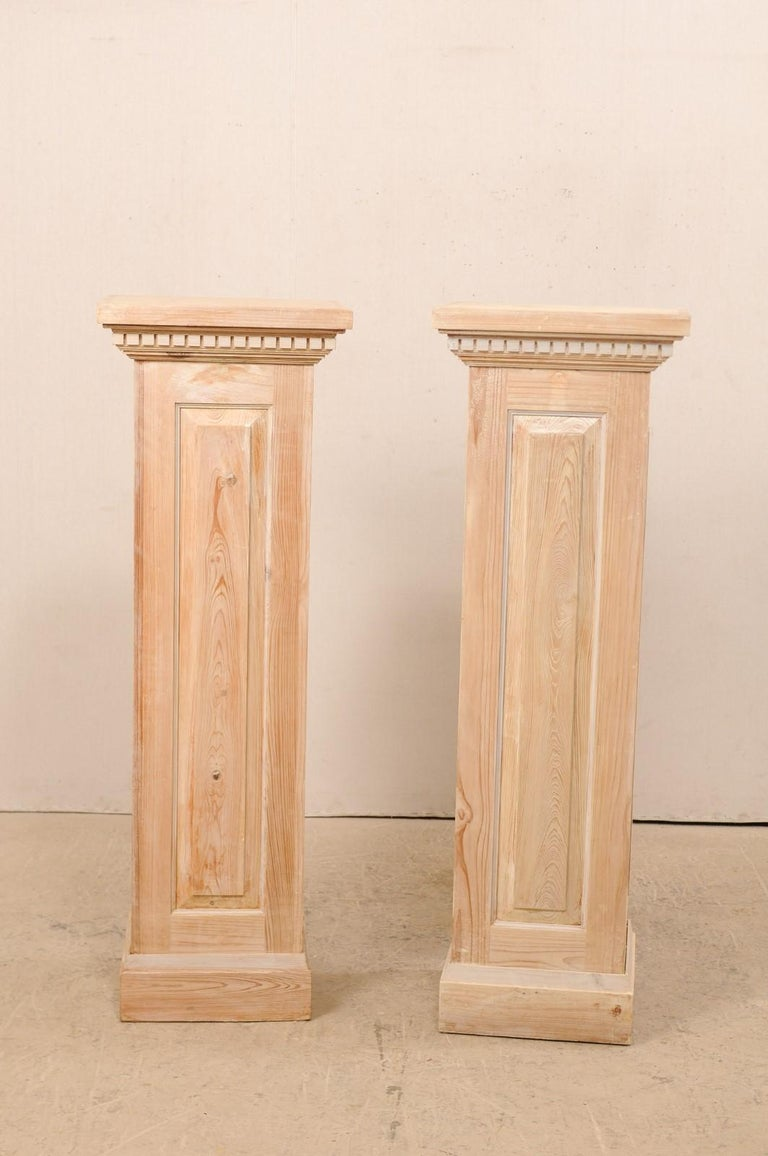 Pair of Carved Wood Squared Pedestal Columns For Sale 1