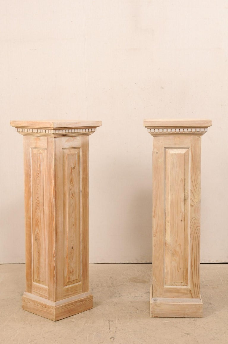 Pair of Carved Wood Squared Pedestal Columns For Sale 2