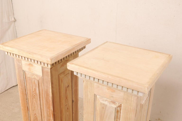Pair of Carved Wood Squared Pedestal Columns For Sale 4
