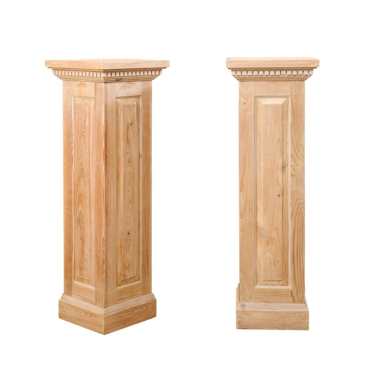 Pair of Carved Wood Squared Pedestal Columns For Sale